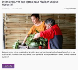 Cécile Mahé, auteure du blog Plante essentielle, interroge Hélène et Laurent Filippi de Intimu