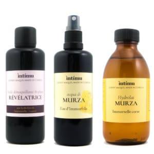 Routine démaquillage Intimu : Double nettoyage à l'huile et à l'eau florale
